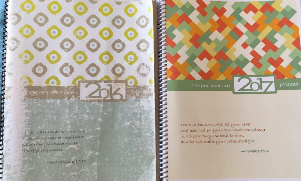 My worn-out 2016 Weekly Planner and fresh 2017 one