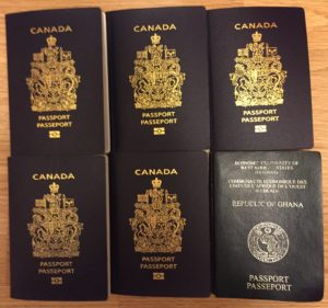 The Perbis five blue Canadian passports and the one green Ghanaian one