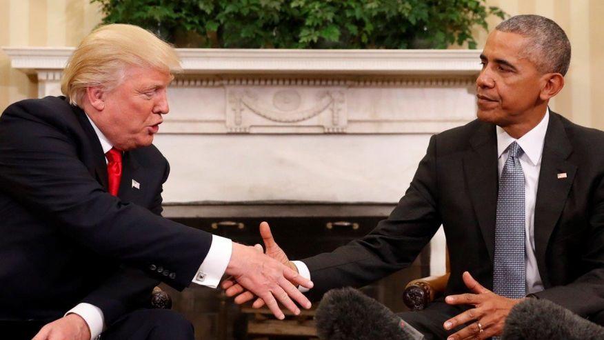 President-elect Trump and sitting US President Barak Obama during the transition (credit: shadowandact.com)